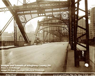 Cooper Island >> Sixth Street Bridge 1892-1927 - Bridges and Tunnels of Allegheny County and Pittsburgh, PA
