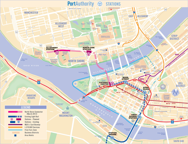 Pittsburgh T Subway Map.North Shore Connector Tunnel Bridges And Tunnels Of Allegheny
